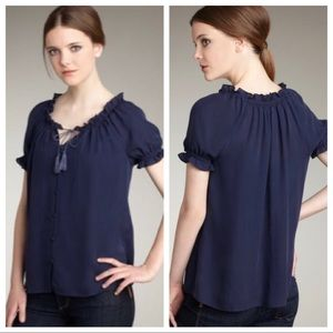 Joie Delilah 100% Silk Ruffled Blouse Top XS